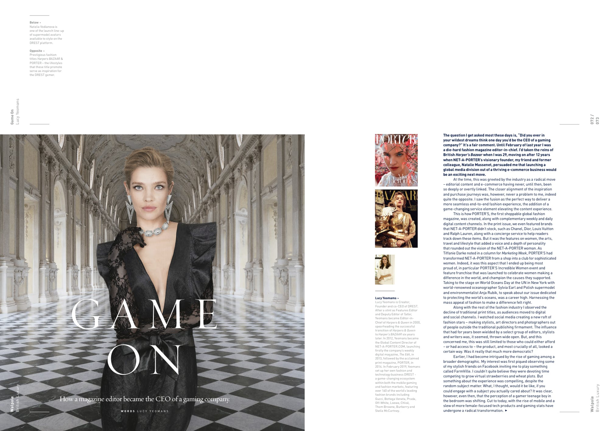 Walpole editorial  Game on by Lucy Yeomans